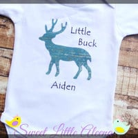 Baby Boy Clothes, Hunting Coming Home Outfit, Infant Deer Bodysuit, Newborn Photo Prop, Personalized Baby Boy Bodysuit, Little Buck Deer