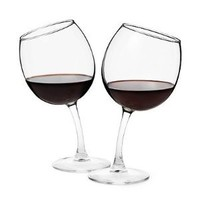 Tipsy Wine Glasses (Set of 2) 12 oz. Goblets with Slightly Bent Stems