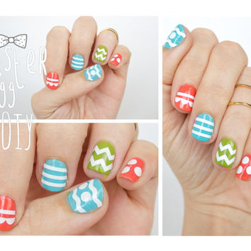 Easter Egg DIY Themed Nail Sticker -Assorted pack of 50 Stripes, Chevrons, Polka Dots, Waves, and Scallops