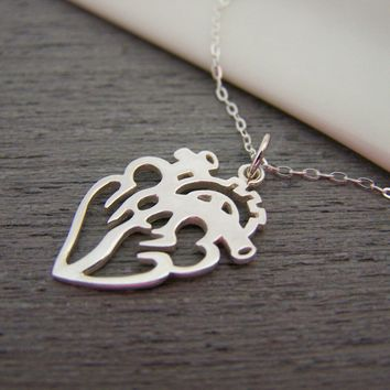 Anatomical Cut Out Heart Charm Sterling Silver Necklace Simple Jewelry / Gift for Her