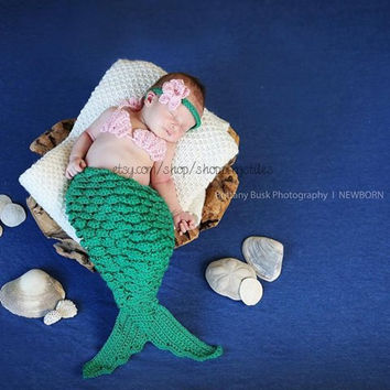 Crcoheted Newborn-12 Months Baby Mermaid Photo Prop