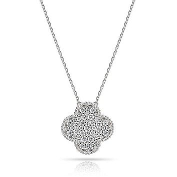 Alahambree Clover Russian Lab Diamond Necklace