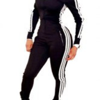 Contrast Striped Long Sleeve Bodycon Jumpsuit