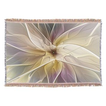 Floral Fantasy Pattern Abstract Fractal Art Throw Blanket