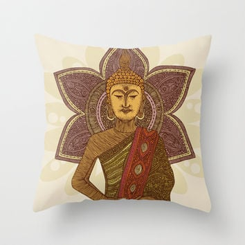 Sitting Buddha Throw Pillow by Valentina