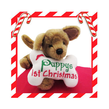 Puppy's First Christmas-Fleece Dog Toy Bone White-Cute Soft Plush Dog Puppy Accessories-Dog Lover Gift-Under 15 20 25