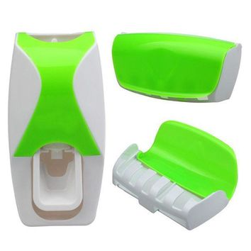 Set Automatic Lazy Toothpaste Dispenser 5 Toothbrush Holder Wall Mount Quality First