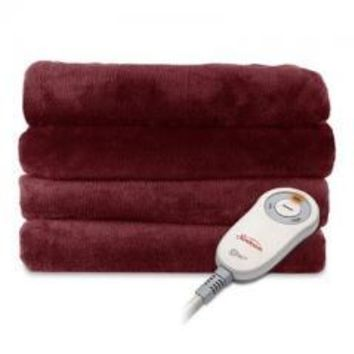 Warm Sunbeam Microplush Heated Electric Throw Blanket with EliteStyle Controller Garnet Red