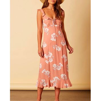 cotton candy la - forever young floral midi maxi dress - mauve/peach