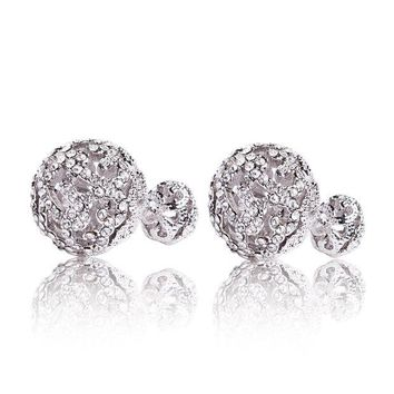 ONETOW MISASHA Rhinestone silver plated crystal encrusted rhinestone double ball earrings