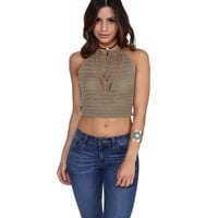Taupe Laguna Crochet Crop Top