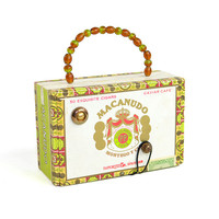Cigar Box Purse - Upcycled Macanudo Caviar Cafe, Dominican Republic Imported Cigars Container - Glass Bead Handle - Vintage Storage Decor