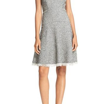 Rebecca Taylor Sleeveless Stretch Tweed Fit & Flare Dress | Nordstrom