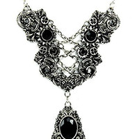 Silver Corset Chain Lace Victorian Gear Necklace with Black Stone