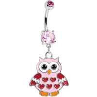 Pink Red Valentine Owl Dangle Belly Ring | Body Candy Body Jewelry