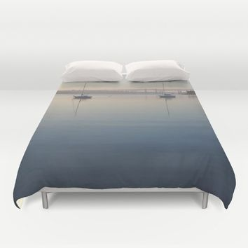 Thames River morning Duvet Cover by DJ Beaulieu