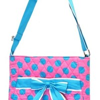 Pink & Blue Polka Dot Quilted Cotton Crossbody Bag