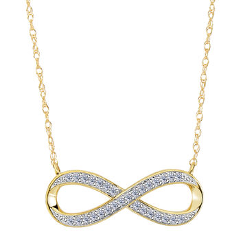 14K Yellow Gold With 0.10 Ct Diamonds Infinity Necklace - 18 Inches