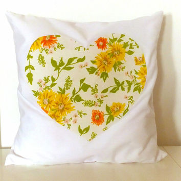 Heart Pillow - 16x16 -Vintage Fabric - Yellow and Orange Daisy Floral- Valentine - Eco-friendly & Upcycled Vintage Floral Fabrics