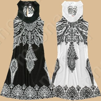 Summer Women Dress Vintage Flower Print Bohemian Dresses Hippie Boho Paisley Chiffon Dress  113-01-00760