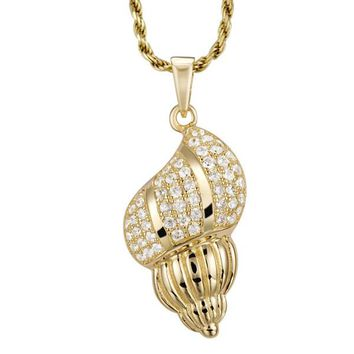 YELLOW GOLD ON 925 STERLING SILVER HAWAIIAN CONCH SNAIL SHELL CHARM PENDANT CZ