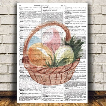 Easter print Easter eggs art Dictionary poster Watercolor print RTA1332