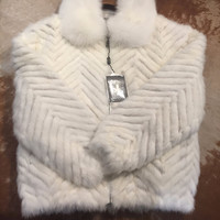 Winter Fur Chevron Mink Tails Fur Coat