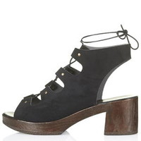 HELTER Lace Up Clogs - Black