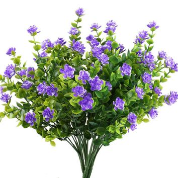 GTidea 4pcs Fake Plants Artificial Greenery Shrubs Eucalyptus Branches with Purple Baby's Breath Flower Plastic Bushes House Office Garden Patio Yard Indoor Outdoor Decor