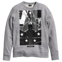 H&M - Sweatshirt with Printed Design - Gray melange - Men