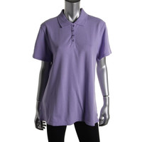 Karen Scott Womens Textured Short Sleeve Polo Top
