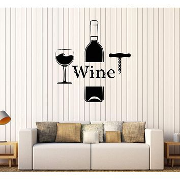 Vinyl Wall Decal Wine Bottle Glass Alcohol Bar Drink Stickers Mural Unique Gift (570ig)