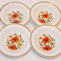 Bowls, Breakfast Bowls, Set of Four, Bowl Set, Cereal Bowls, J & G Meakin, Poppy, Poppy Design, Flowers, 1970s Kitchen - 1970s