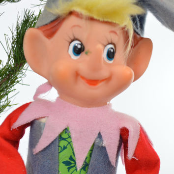 Pixie Elf Christmas Ornament Red White Pink Yellow Holiday Classic