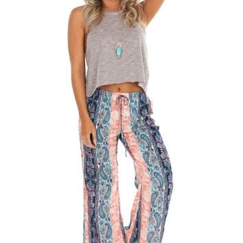 Wide Leg Drawstring Pant Peach