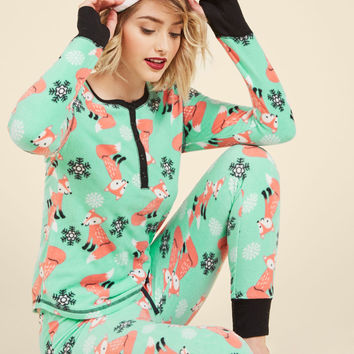 Nocturnal Yourself Out Pajama Set in Foxes | Mod Retro Vintage Underwear | ModCloth.com