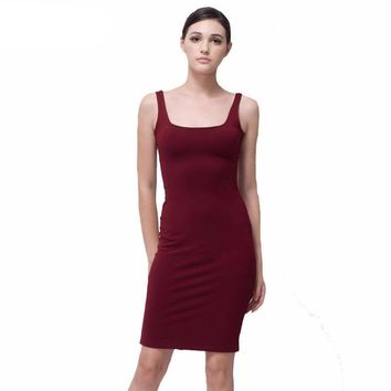 Stretchy red blue gray slim tank women dress back split dress