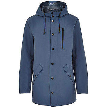 River Island MensBlue cotton lightweight hooded jacket