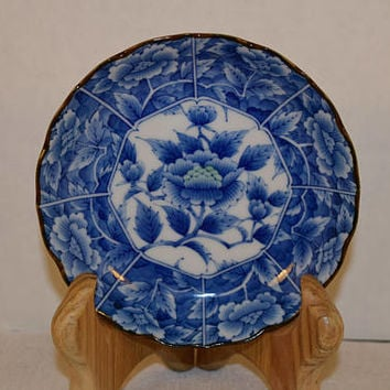 Blue & White Lotus Small Plate Vintage Made in Japan Blue Lotus Flower Scalloped Bread and Butter Plate Dessert Salad Asian Plate