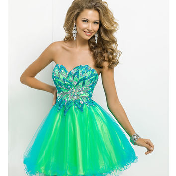 (PRE-ORDER) Blush 2014 Prom Dresses - Turquoise & Lime Strapless Short Prom Dress