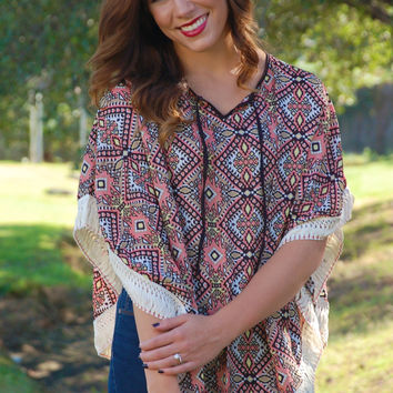 Sweet Southern Fall Poncho-Rose