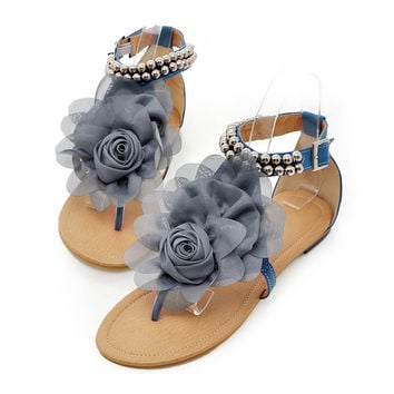 Flat Heel Flower Sandals Various Size Women Shoes  blue