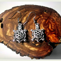 Handmade Turtle Earrings On Surgical Steel Hooks In Antique Style Hypoallergenic Jewelry Halloween TMNT