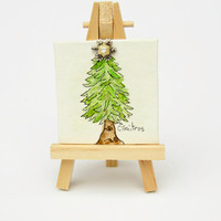 Whimsy green christmas tree ornament for table, mini art with easel, vintage snowflake pendant, tabletop decor, Christmas hostess gift