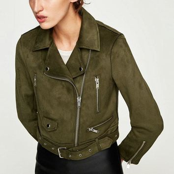 New Winter Women Soft Suede Faux Leather Jackets and Coats Lady Matte Cute Zippers Belt Dark Green Outerwear