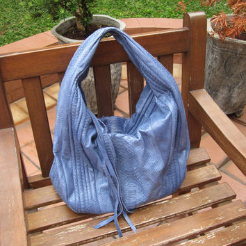 Betty Genuine Exotic Python Leather in Blue Colour Hobo Handbag