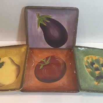 "Clay Art Terra Toscana 4 Assorted Vegetables & Color Appetizer Plates 6 1/2"" Sq."