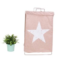 Wire Fold Laundry Hamper Red Star