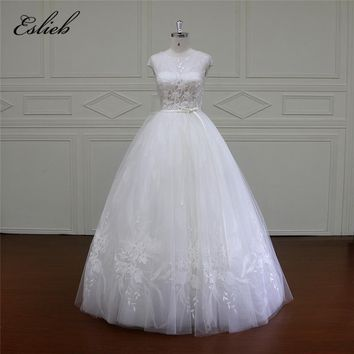 Eslieb Ball Gown Wedding Dresses 2018 Real Photo 3D Floral Handmade Tulle Cap Sleeves High-end Bridal Gowns Vestido de Noiva