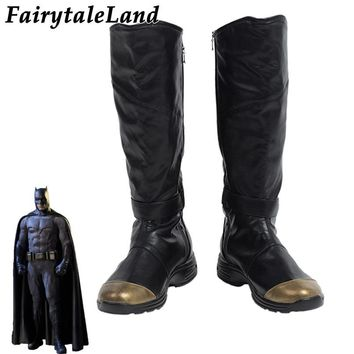 Batman Dark Knight gift Christmas Justice League Batman Boots Halloween Cosplay Accessories Custom Made Superhero Batman Shoes Black leather Boots AT_71_6